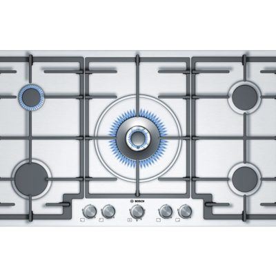 Bosch 5 Burner Gas Hob In Brushed Steel With Wok Style Central Burner