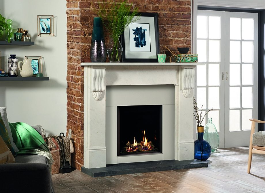 Riva2 600 Hl Edge With Echo Flame Black Glass Lining Shown With Stovax Victorian Corbel Stone Mantel In Antique White Marble
