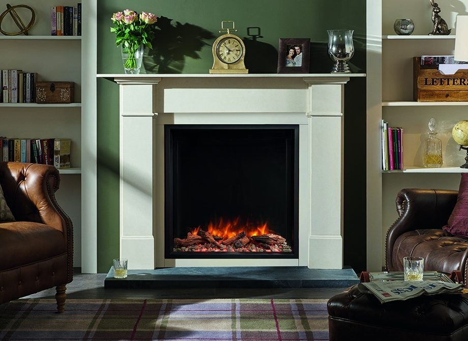 Skope 75 R Inset With Log Pebble Fuel Effects In Claremont Limestone Mantel
