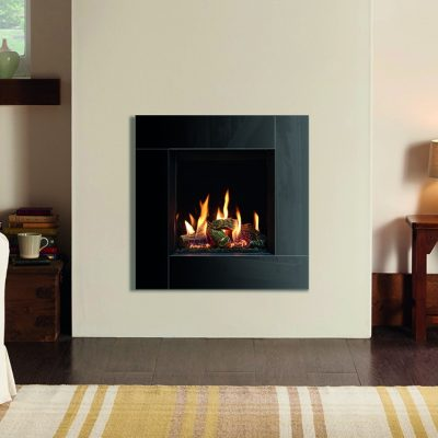 Gazco Riva2 400 Icon Xs With Echo Flame Black Glass Lining