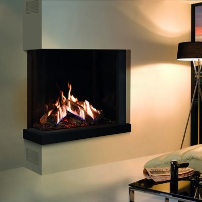 Reflex 75 T 2 Corner With Echo Flame Black Glass Lining