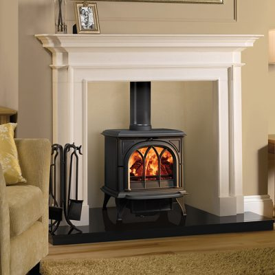 Sandringham Stone Mantel With Stovax Huntingdon 30 Wood And Multi Fuel Stove